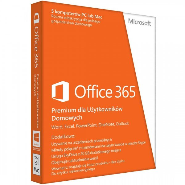 Microsoft Office 365 Home Premium PL 32-bitx64 Subscr 1YR Eurozone Medialess